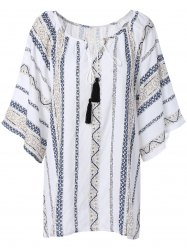 Gauzy Printed Tassel Blouse For Women - WHITE