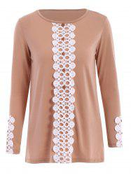 Stylish Scoop Collar Long Sleeve Laciness Loose-Fitting Women's T-Shirt