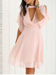 Petal Sleeve Knee Length Plunging Neck Pleated Dress - PINK