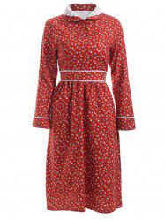 Graceful Women's Crochet-Trim Floral Print Dress -