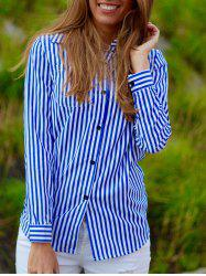 Casual Shirt Collar Stripes Long Sleeve Blouse For Women -
