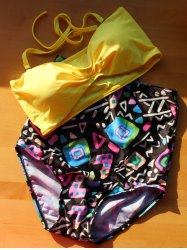 Active Yellow Bra and Print High Waist Briefs Tankini For Women