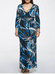 Oversized Abstract Print Long Sleeve Wrap Maxi Dress
