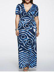 Short Sleeve Plus Size Tie-Dyed Maxi Dress