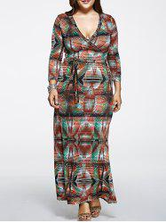 Oversized High Waist Abstract PrintDress