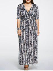 Plus Size Printed Maxi Dress with Sleeves -