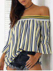 Simple Women's Off-The-Shoulder Bell Sleeves Striped Blouse