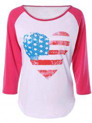 Heart Print Raglan Sleeve T-Shirt