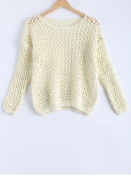 Simple Women's Hollow Out Loose Knitted Top -