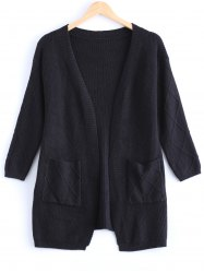 Simple Women's Pure Color Front Pockets Collarless Cardigan -