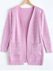 Simple Women's Front Pockets Pure Color Collarless Cardigan -
