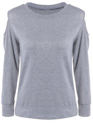 Hollow Out Grey Loose Fitting T-Shirt -