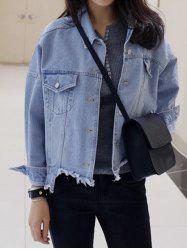 Trendy Single-Breasted Beggar Denim Jacket - LIGHT BLUE