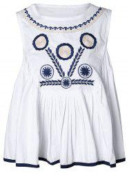Ethnic Print Embroidery Tank Top -