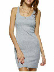 Bodycon Square Neck Mini Tank Dress - GRAY