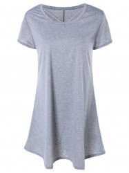 Casual ample Mini-robe gris - Gris