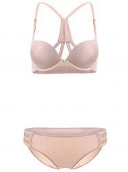 Front Closure Solid Color Push Up Bra Set - COMPLEXION