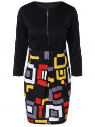 Chic Zipper Design Geometric Print Skinny Women's Dress - BLACK