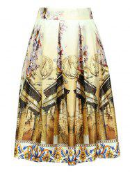Trendy Elastic Waist Ornate Printed Women's Skirt -