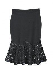 Charming Lace Spliced Flounce Women's Mermaid Skirt -
