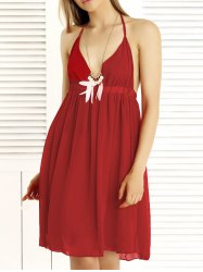 Alluring Halter Empire Waist Backless Summer Dress