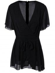 Plus Size Flare Sleeve Romper - BLACK