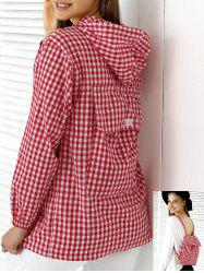 Chic Hooded Plaid Buttoned Multifunction Women's Blouse -