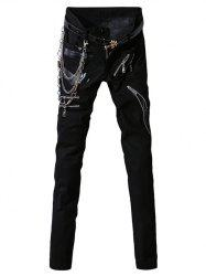 PU-Leather Spliced Zip-Up Embellished Zipper Fly Narrow Feet Pants For Men