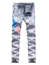 Star and Stripe Print Holes Design Zipper Fly Narrow Feet Jeans For Men