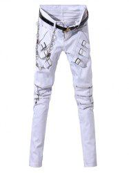 Zip-Up and Belt Embellished Zipper Fly Narrow Feet Pants For Men -