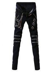 Zip-Up and Belt Embellished Zipper Fly Narrow Feet Pants For Men - BLACK
