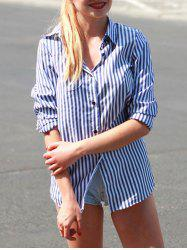 Casual Shirt Collar Striped Print Long Sleeve Blouse For Women -