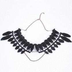 Vintage Leaf Fake Collar Necklace - BLACK