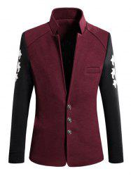Trendy Stand Collar Color Block Spliced Long Sleeve Coat For Men -
