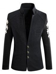 Trendy Stand Collar Color Block Spliced Long Sleeve Coat For Men
