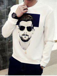 Color Block Figure Print Round Neck Long Sleeve Sweatshirt For Men