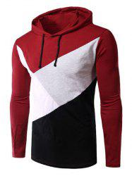Casual Style Color Block Spliced Long Sleeve Hoodie For Men - RED