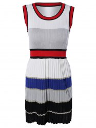 Chic Color Block Pleated Design Sleeveless Dress -