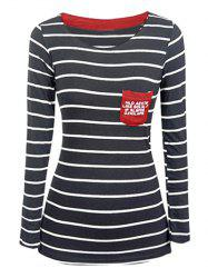Chic Pocket Design Striped Slimming Women's T-Shirt -