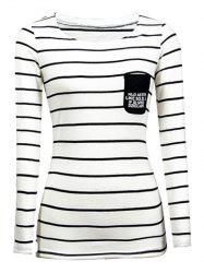 Chic Pocket Design Striped Slimming Women's T-Shirt