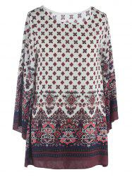 Ornate Printed Shift Dress With Sleeves - WHITE
