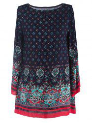 Ornate Printed Shift Dress With Sleeves - PURPLISH BLUE 2XL
