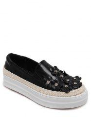 Casual Rhinestones and Flowers Design Flat Shoes For Women -