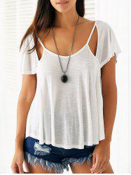 Casual Scoop Neck Cutout Solid Color T-Shirt For Women