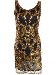 Mesh Sequin Club Glitter Prom Dress - BLACK AND GOLDEN