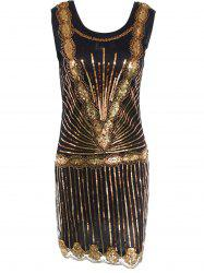 Sequin Mini Glitter Vintage Flapper Dress - BLACK AND GOLDEN