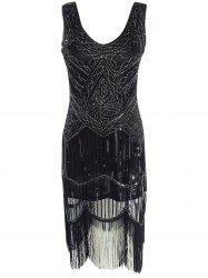 Vintage Beaded Fringed Sequin Flapper Dress - BLACK