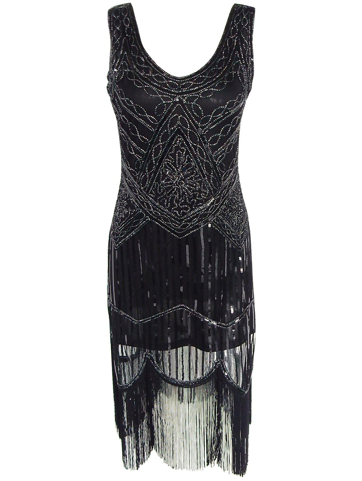 Vintage Beaded Fringed Sequin Flapper DressWOMEN<br><br>Size: S; Color: BLACK; Style: Sexy &amp; Club; Material: Polyester,Spandex,Viscose; Silhouette: Straight; Dresses Length: Knee-Length; Neckline: Scoop Neck; Sleeve Length: Sleeveless; Pattern Type: Others; With Belt: No; Season: Summer; Weight: 0.3580kg; Package Contents: 1 x Dress;