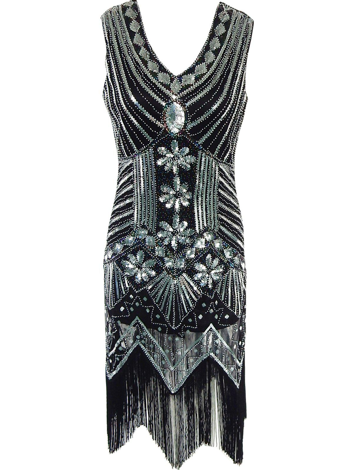 Buy Fringed Sequined Wavy Cut Vintage Flapper Dress