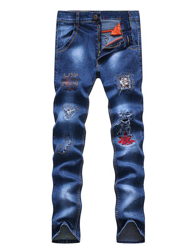 Trendy Embroidery Patch and Holes Design Zipper Fly Narrow Feet Jeans For Men